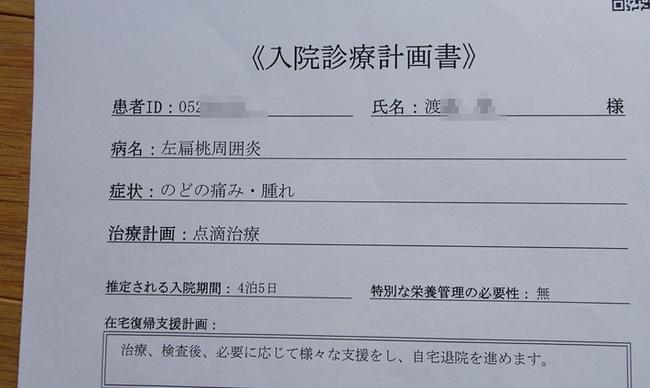 入院診療計画書