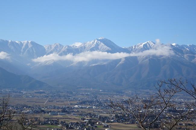 光城山から見た常念岳